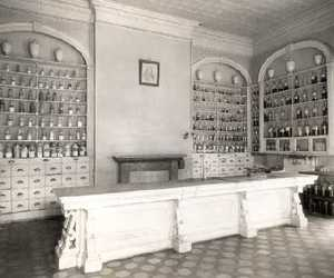 apothecary, black and white, and cases image