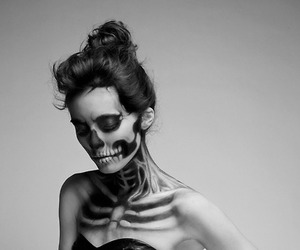girl, skeleton, and black and white image