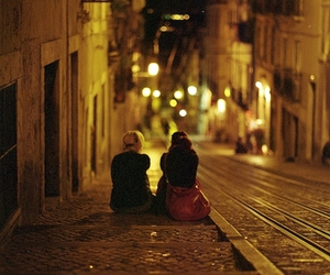 night, street, and friends image