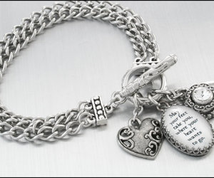 charm bracelet, handcrafted jewelry, and stainless steel jewelry image