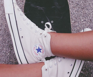 converse, skateboard, and white image