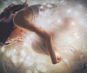 light, girl, and dress image