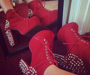 red, heels, and shoes image