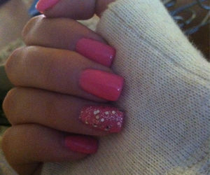 happy, nails, and pink image