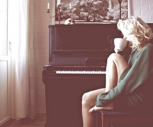 girl, piano, and coffee image
