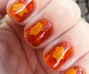 nails, leaves, and autumn image