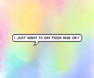 pizza, cry, and food image