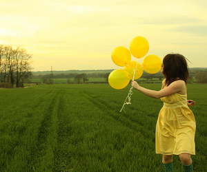 balloons, girl, and yellow image