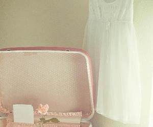 suitcase, pink, and vintage image