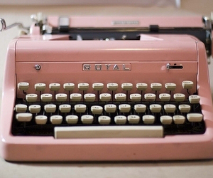 pink, typewriter, and vintage image
