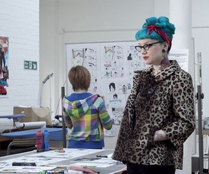 blue hair, leopard, and psychobilly image