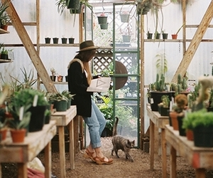 girl, nature, and plants image