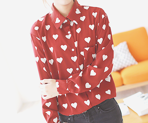 blouse, girl, and hearts image