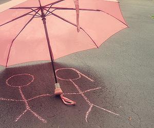 love, pink, and umbrella image
