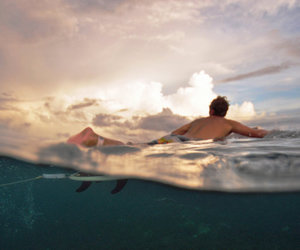 boy, ocean, and surf image