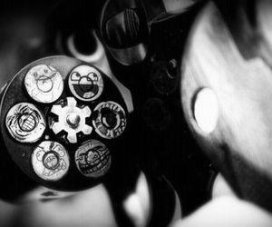 gun, bullet, and smile image