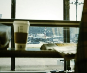 airport, coffee, and waiting image