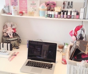 room, macbook, and makeup image