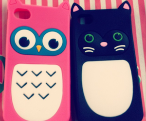 cat, iphone, and owl image