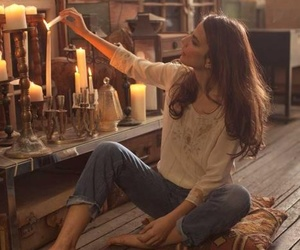 candle, girl, and home image