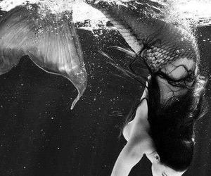 mermaid, water, and black and white image