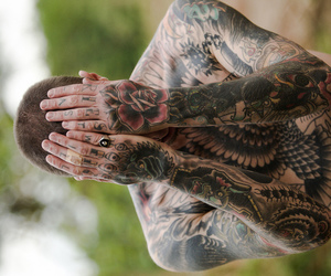 tattoo, guy, and black and white image