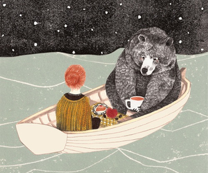 bear, art, and boat image