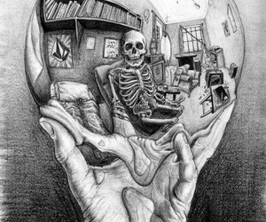 art, skeleton, and hand image