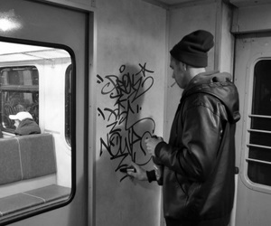 art, black and white, and graff image