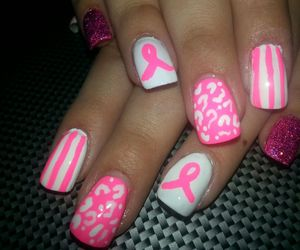 hand painted, red, and breast cancer awareness image