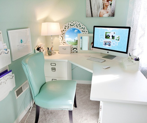 blond, couple, and desk image