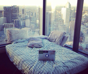 bed, city, and room image