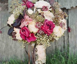 bouquet, magenta, and buttons image