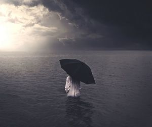 sea, ocean, and umbrella image