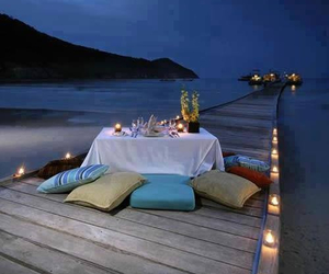 romantic, beach, and candle image