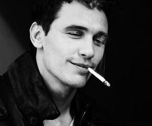 james franco, black and white, and cigarette image
