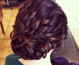 hair, curly, and brunette image