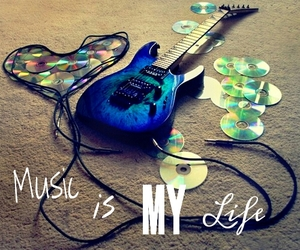 cd, guitar, and heart image