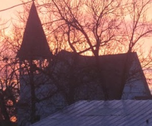 church, steeple, and sunrise image