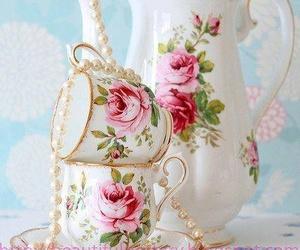 vintage, tea, and floral image