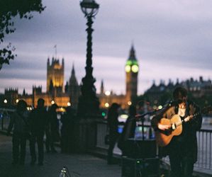 london, guitar, and night image