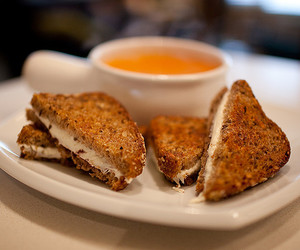 grilled cheese, lunch, and tomato soup image