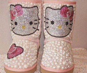 hello kitty, pink, and uggs image