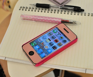 iphone, pink, and notebook image