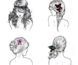 art, flower, and head bands image