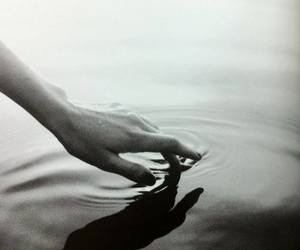 black and white, hand, and water image
