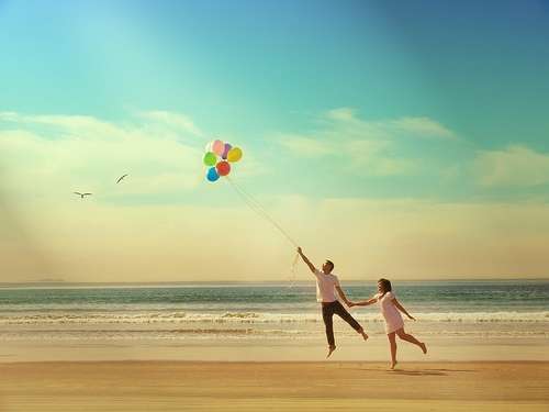 amor, balloons, and beach image