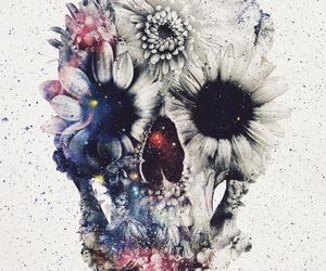 skull, flowers, and art image