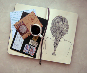 drawing, coffee, and vintage image