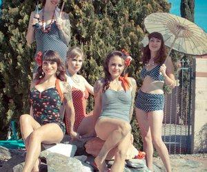 umbrella, beach, and bikinis image